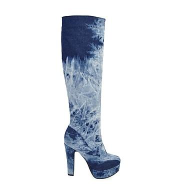 Chaussures Hiver jean de de Cowboy Bottier minuit Western de Elastique Bleu Talon Bottes Toile 06241707 Plateau Bleu clair Bottes rond Femme Bout Automne Fermeture Bottes dcXqppW