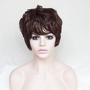 Synthetic Wig Straight / Natural Wave Asymmetrical Haircut / With Bangs Synthetic Hair Natural Hairline Brown Wig Women's Short Capless