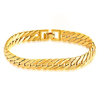 cheap Men's Bracelets-Men's Chain Bracelet Bracelet 18K Gold Plated Stainless Steel Gold Plated Simple Style Fashion Bracelet Jewelry Gold For Daily Casual