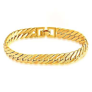 Férfi Rozsdamentes acél Arannyal bevont Lánc & láncszem karkötők Karkötő - Divat minimalista stílusú Line Shape Arany Karkötők