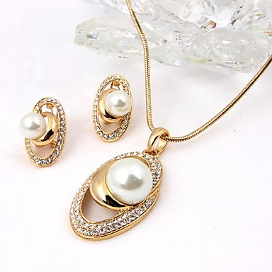 Women's Jewelry Set - Imitation Pearl Simple Style, Fashion Include Drop Earrings / Necklace Gold For Wedding / Office & Career