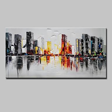 Hang festett olajfestmény Kézzel festett - Építészet Absztrakt Modern Tartalmazza belső keret / Nyújtott vászon