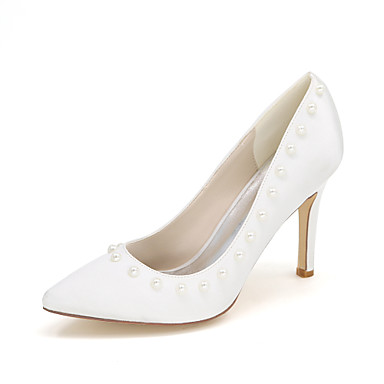Női Szatén Tavasz / Nyár Magasított talpú Esküvői cipők Tűsarok Erősített lábujj Hamis gyöngy Kék / Világosbarna / Kristály / Party és Estélyi