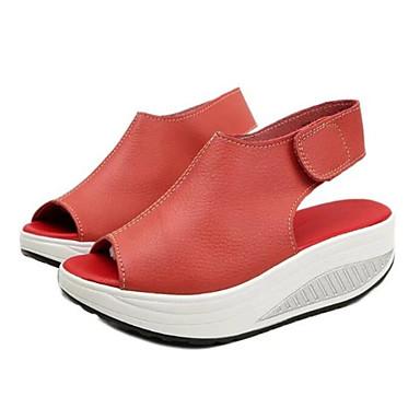 billige Sandaler til damer-Dame Sandaler Platform Rund Tå hægte PU Komfort Forår / Sommer Sort / Gul / Rød / EU41