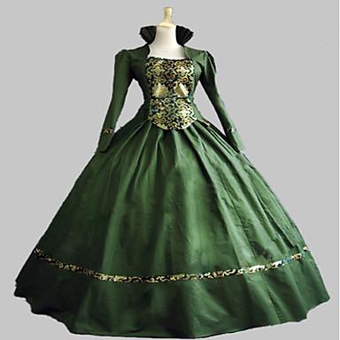 Rococo Victorian Costume Women's Dress Party Costume Masquerade Green Vintage Cosplay Satin Sleeveless Knee Length Floor Length Halloween Costumes