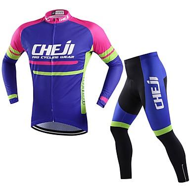 cheji® Férfi Hosszú ujj Kerékpáros dzsörzé nadrággal - Bíbor Bike Ruházati kollekciók, Gyors szárítás