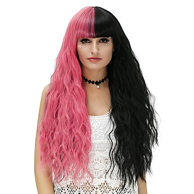 Synthetic Wig / Cosplay & Costume Wigs Water Wave Synthetic Hair Black Wig Women's Long Capless