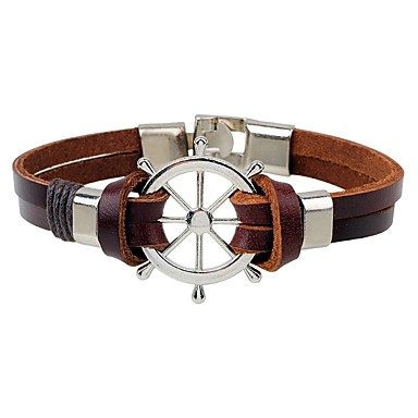 Men's Leather Bracelet - Leather Fashion, Hip-Hop Bracelet Coffee For Casual