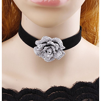 Women's Choker Necklace - Flower Classic Adorable Black Necklace Jewelry For Casual, Stage