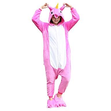 Adults' Kigurumi Pajamas with Slippers Unicorn / Flying Horse Onesie Pajamas Costume Flannel Fabric Pink Cosplay For Animal Sleepwear Cartoon Halloween Festival / Holiday / Christmas