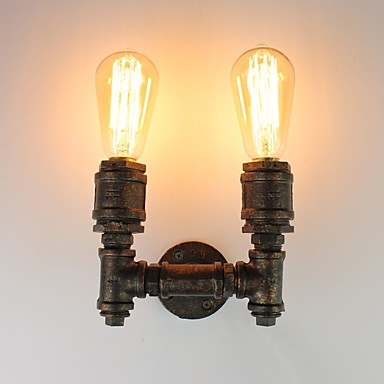 Loft Retro Industrial Style Wall Sconce Restaurant And Bar Metal Water Pipe Wall Lamp 2-Light Painted Finish