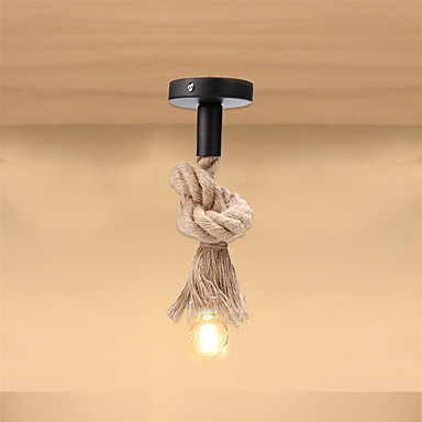 Hemp Rope Pendant Light 50CM Single Head Industrial Vintage Hanging Ceiling Lamp Retro Country Style For Dining Restaurant