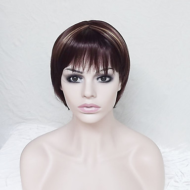 Synthetic Wig Straight Asymmetrical Haircut / With Bangs Synthetic Hair Highlighted / Balayage Hair / Natural Hairline Brown Wig Women's Short Capless