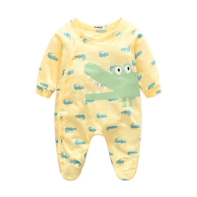 Baby Boys' Animal One-Pieces, 100% Cotton Spring/Fall Long Sleeves Green Yellow