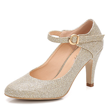 Women's Shoes Sparkling Glitter Spring / Fall Basic Pump / Ankle Strap Wedding Shoes Cone Heel Round Toe Gold / Silver / Party & Evening