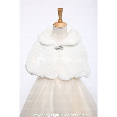 Faux Fur Wedding / Party / Evening Kids' Wraps With Rhinestone Capelets