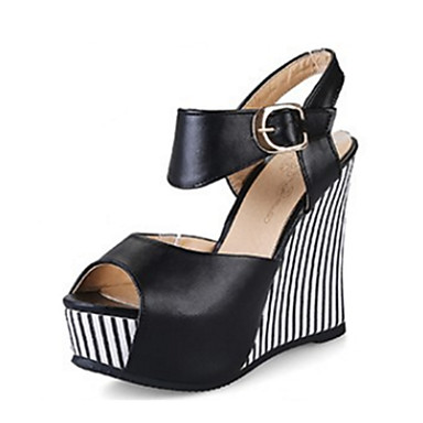 Women's Shoes PU(Polyurethane) Summer / Fall Comfort / Novelty Sandals Wedge Heel Peep Toe Buckle Black / Blue / Pink / Wedge Heels