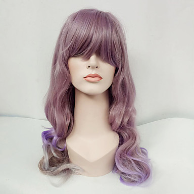 Synthetic Wig Wavy With Bangs Synthetic Hair Purple Wig Women's Long Capless Lavender