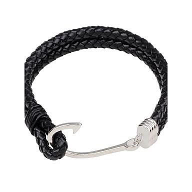 voordelige Herensieraden-Heren Lederen armbanden Gepersonaliseerde Eenvoudige Stijl Leder Armband sieraden Zwart / Bruin Voor Straat Uitgaan