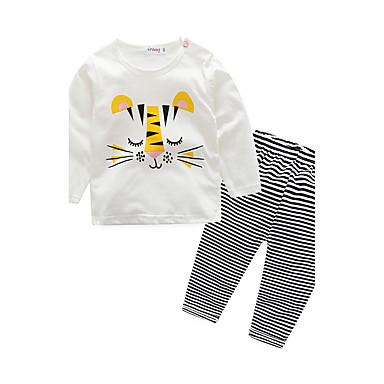 Baby Children's Indoor Stripe Animal Sleepwear, 100% Cotton Spring/Fall Stripes Long Sleeves Blue White