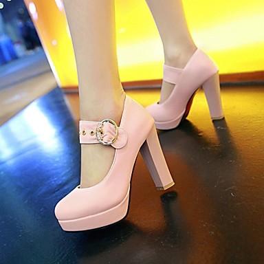Décontracté Similicuir Bottier pour Femme Talons rond Confort à Automne Bout Chaussures Nouveauté Printemps 06217367 Boucle Talon Chaussures Blanc ZwHwqf5Un