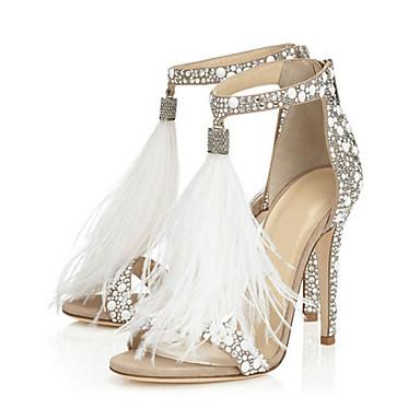 3ccfb35899 Women's Sandals Stiletto Heel Open Toe Rhinestone / Zipper / Tassel  PU(Polyurethane) Comfort / Novelty Spring / Fall Almond / Wedding / Party &  Evening ...