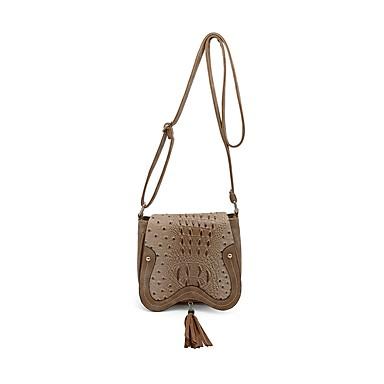 Women's Bags PU(Polyurethane) Crossbody Bag Ruffles Crocodile Maroon / Brown / Khaki