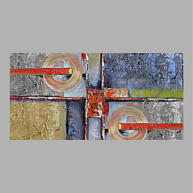 Oil Painting Hand Painted - Abstract Abstract Canvas / Rolled Canvas