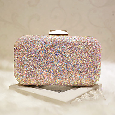 cheap Bags-Women's Bags Faux Leather Evening Bag Sequin White / Blushing Pink