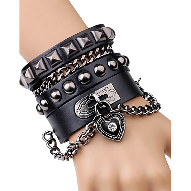 Men's Rivet Chain Bracelet / Leather Bracelet - Leather Heart, Button Rock, Fashion Bracelet Black / Brown For Stage / Club
