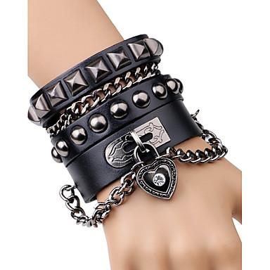 voordelige Herensieraden-Heren Armbanden met ketting en sluiting Lederen armbanden Siernagel Hart Knoop Rock Modieus Leder Armband sieraden Zwart / Bruin Voor Toneel Club