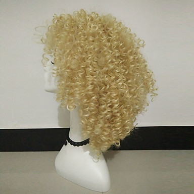 Synthetic Wig Women's Curly Blonde Synthetic Hair Blonde Wig Medium Length Capless Blonde