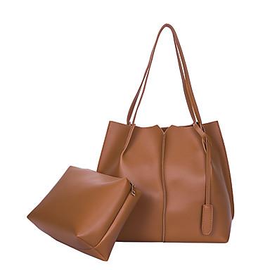 Women's Bags PU Bag Set 2 Pieces Purse Set Zipper for Shopping Casual All Seasons Black Beige Brown Dark Grey Light Grey