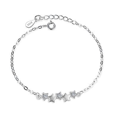 abordables Bracelet-Chaînes Bracelets Femme Zircon Argent sterling Etoile Délicatesse dames Bracelet Bijoux Argent pour Mariage Soirée