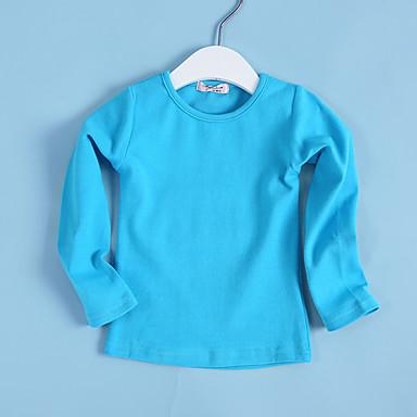cheap Girls' Tops-Girls' Solid Colored Long Sleeve Regular Cotton Tee Yellow