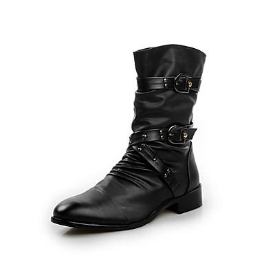 Férfi Újdonság cipők PU Ősz / Tél Kényelmes Csizmák Gyalogló Magas szárú csizmák Fekete / Party és Estélyi