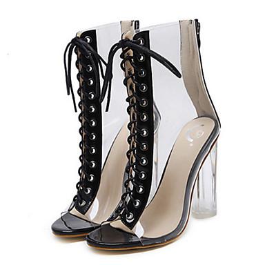 Cuir Printemps Botte Femme Talon Bottes ouvert Mode Bottes PVC Confort Bottier Bout Nouveauté Bottine à la Demi 06289454 Chaussures Automne 5qUUSrt