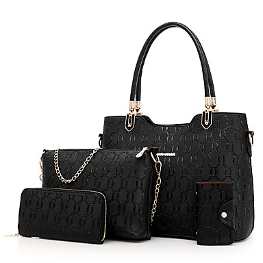 Women's Bags PU(Polyurethane) Bag Set Zipper White / Black / Red