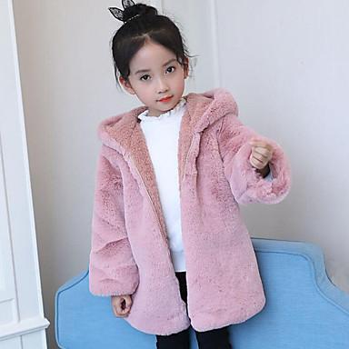 Girls' Patchwork Down & Cotton Padded,Polyester Winter Fall Long Sleeve Cartoon Blushing Pink Light gray