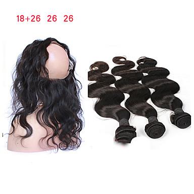 baratos Extensões de Cabelo Natural-3 pacotes com fechamento Cabelo Mongol Onda de Corpo Cabelo Remy Tramas de cabelo humano 8a Extensões de cabelo humano