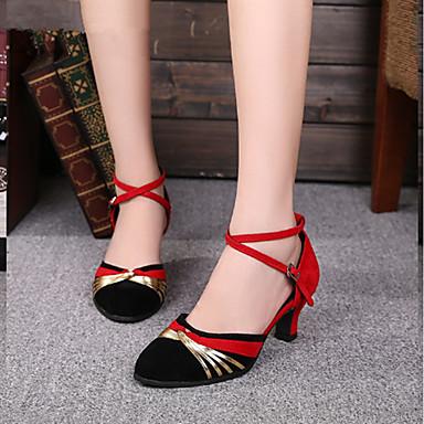 baratos Shall We® Sapatos de Dança-Mulheres Glitter Sapatos de Dança Moderna Recortes Salto Personalizado Personalizável Dourado / Vermelho / Interior / EU38