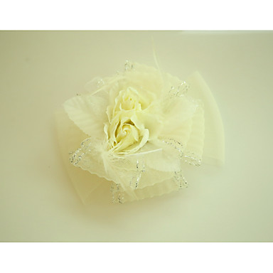 Tulle Fabric Net Flowers with Feather 1 Wedding Special Occasion Event/Party Headpiece