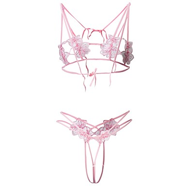 317763fe2eb Women s Erotic Balcony Bras   Panties Sets Wireless Patchwork Acrylic