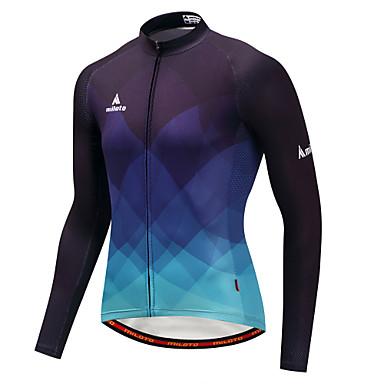 Miloto Men's Long Sleeve Cycling Jersey - Blue / Black Gradient Bike Jersey Top Sports Winter Polyster Mountain Bike MTB Road Bike Cycling Clothing Apparel / Stretchy