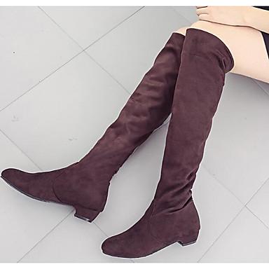povoljno Ženske čizme-Žene Čizme Kockasta potpetica Mekana koža Čizme do koljena Modne čizme / spušten čizme Zima Sive boje / Braon / Crvena / EU39