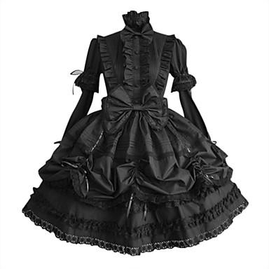 Prenses Gotik Lolita Punk Büyük Beden Kadın's Elbiseler Cosplay Siyah Balon / Kapuz Kol Uzun Kollu Orta Uzunluk Cadılar Bayramı Kostümleri