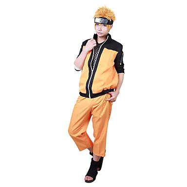 Esinlenen Naruto Naruto Uzumaki Anime Cosplay Kostümleri Cosplay Takımları Kırk Yama Uzun Kollu Palto Pantalonlar Uyumluluk Erkek Kadın's
