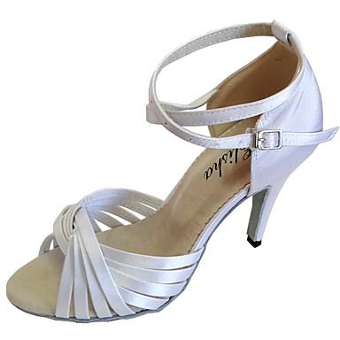 baratos Super Ofertas-Mulheres Sapatos de Dança Cetim Sapatos de Dança Latina Sandália Salto Personalizado Rosa claro / Azul marinho / Amêndoa / Interior
