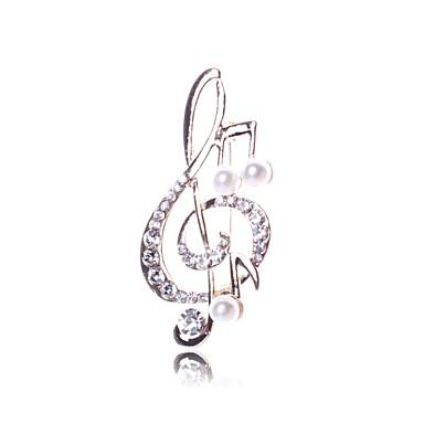 baratos Bijuteria de Mulher-Mulheres Broches Música Nota Musical senhoras Imitação de Pérola Broche Jóias Dourado Para Diário Para Noite