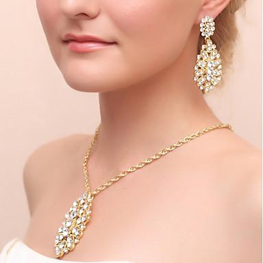 Women's Rhinestone Jewelry Set Earrings Necklace - Drop Drop Earrings Necklace For Wedding Party